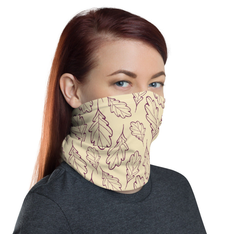 Oak Leaf Neck Gaiter (Magenta Purple/Almond Oil)