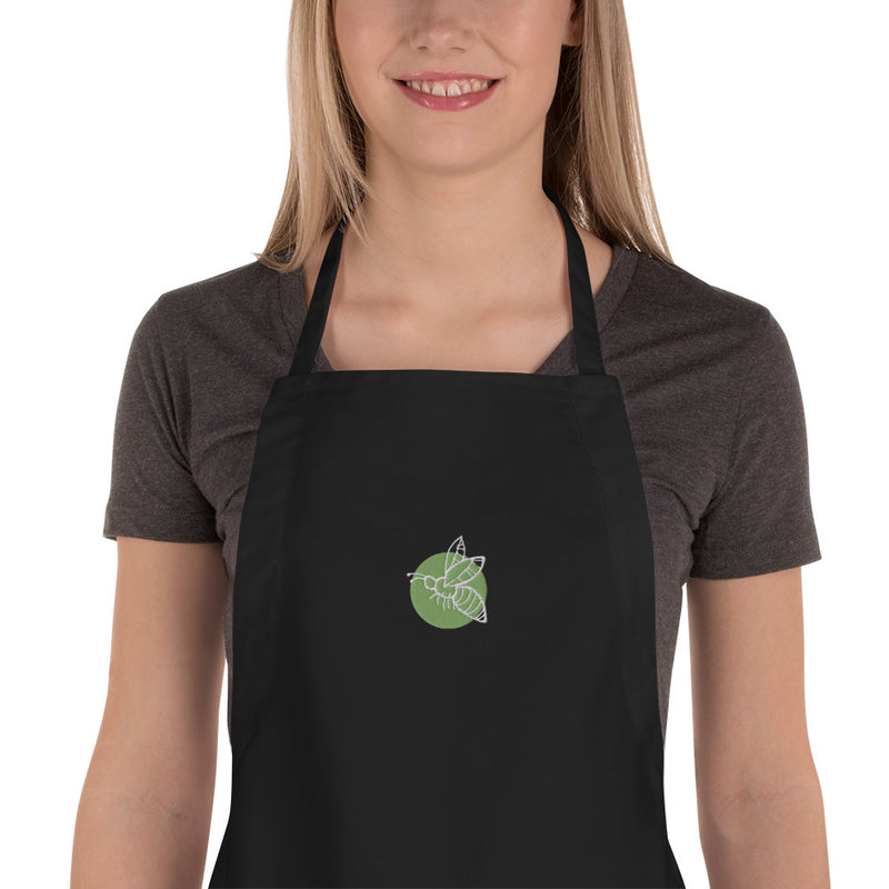 Hand-drawn Bee Icon Embroidered Apron