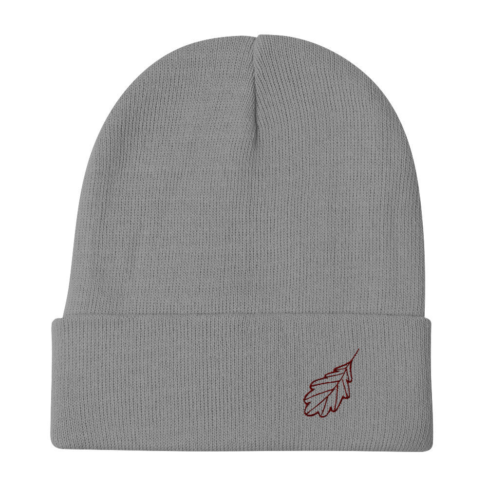 Oak Leaf Embroidered Beanie