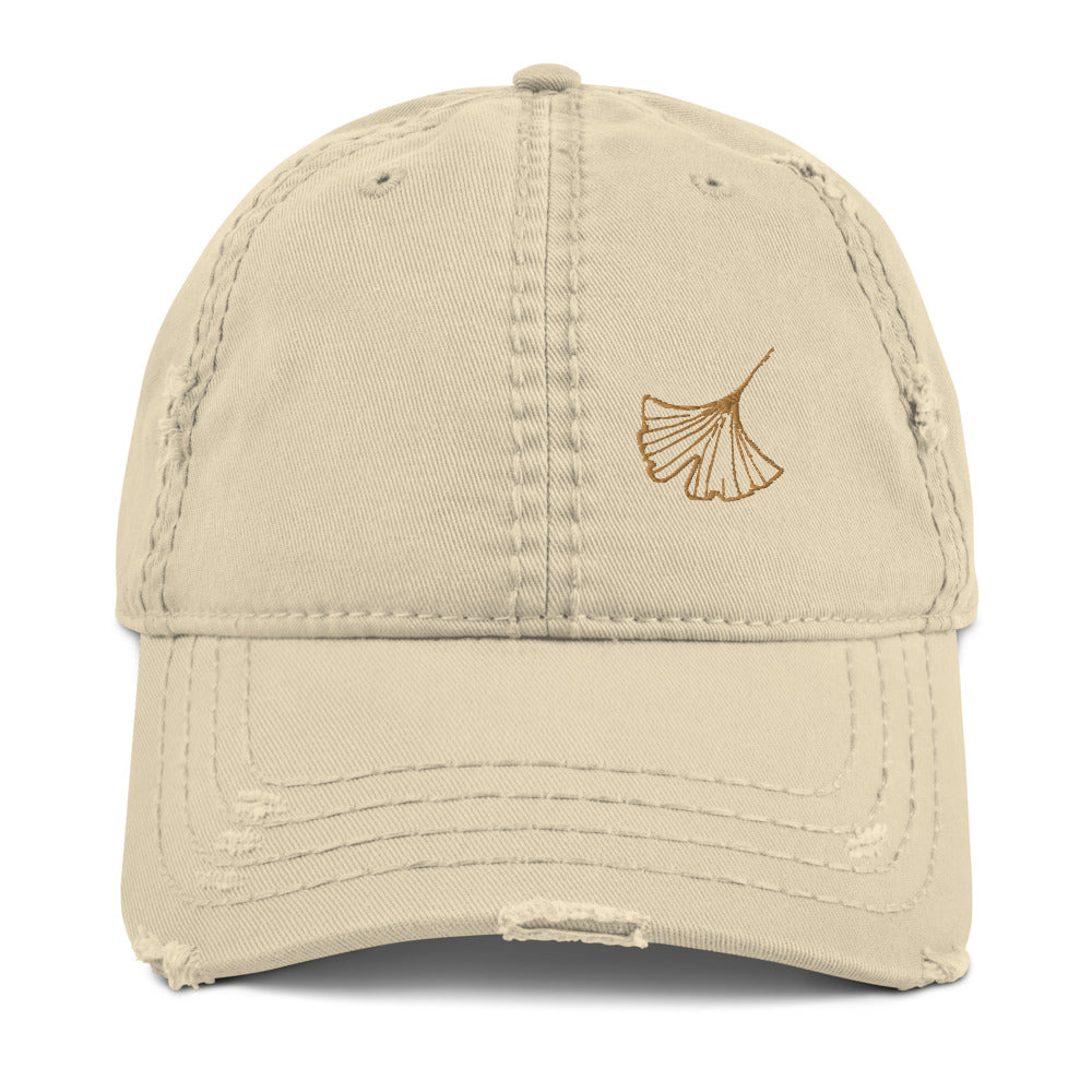Ginkgo Leaf Distressed Dad Hat