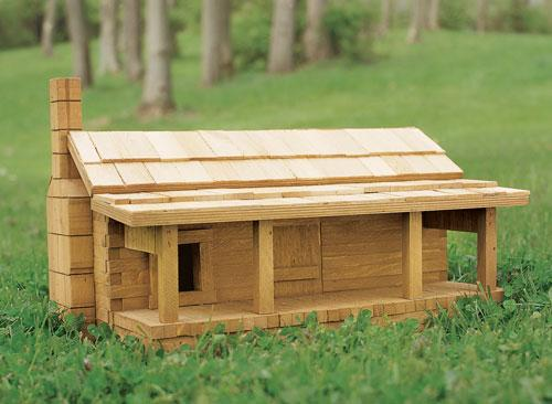 House Sparrow Log Cabin Birdhouse