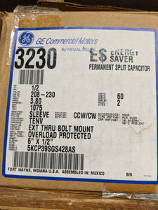 GE 3230, 1/2 HP, 208-230 Volts, 5KCP39SGS428AS