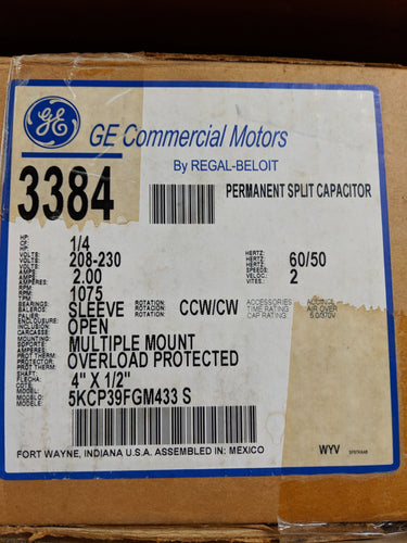 GE 3384, 1/4 HP, 208-230 Volts, 5KCP39FGM433S