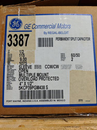 GE 3387, 1/2 HP, 115 Volts, 5KCP39PGM438S