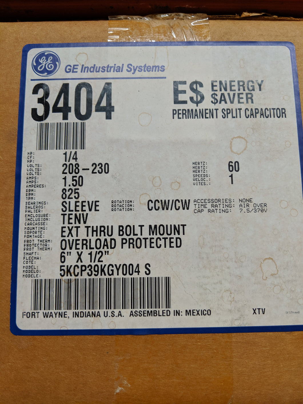 GE 3404, 1/4 HP, 208-230 Volts, 5KCP39KGY004S