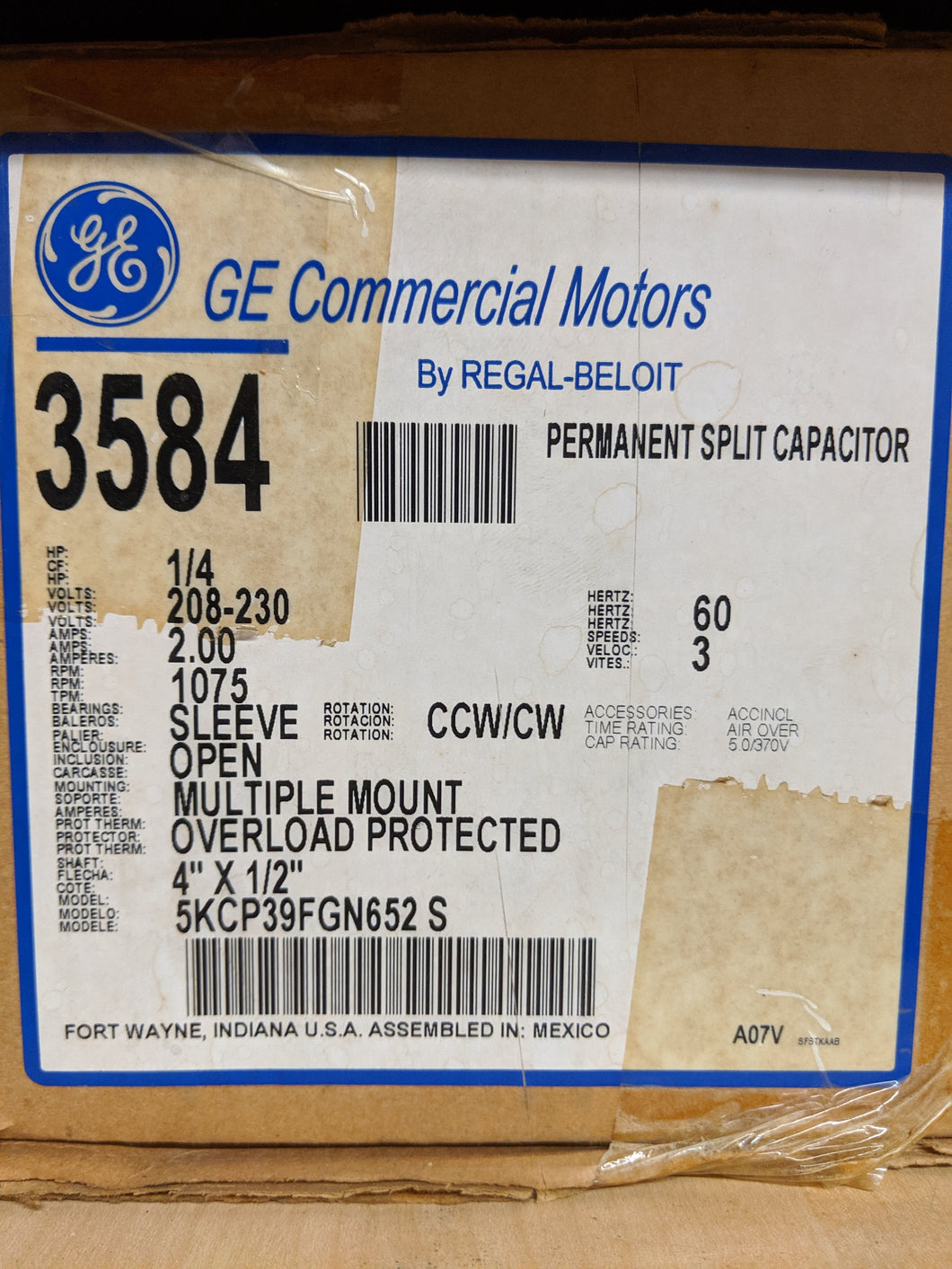 GE 3584, 1/4 HP, 208-230 Volts, 5KCP39FGN652S