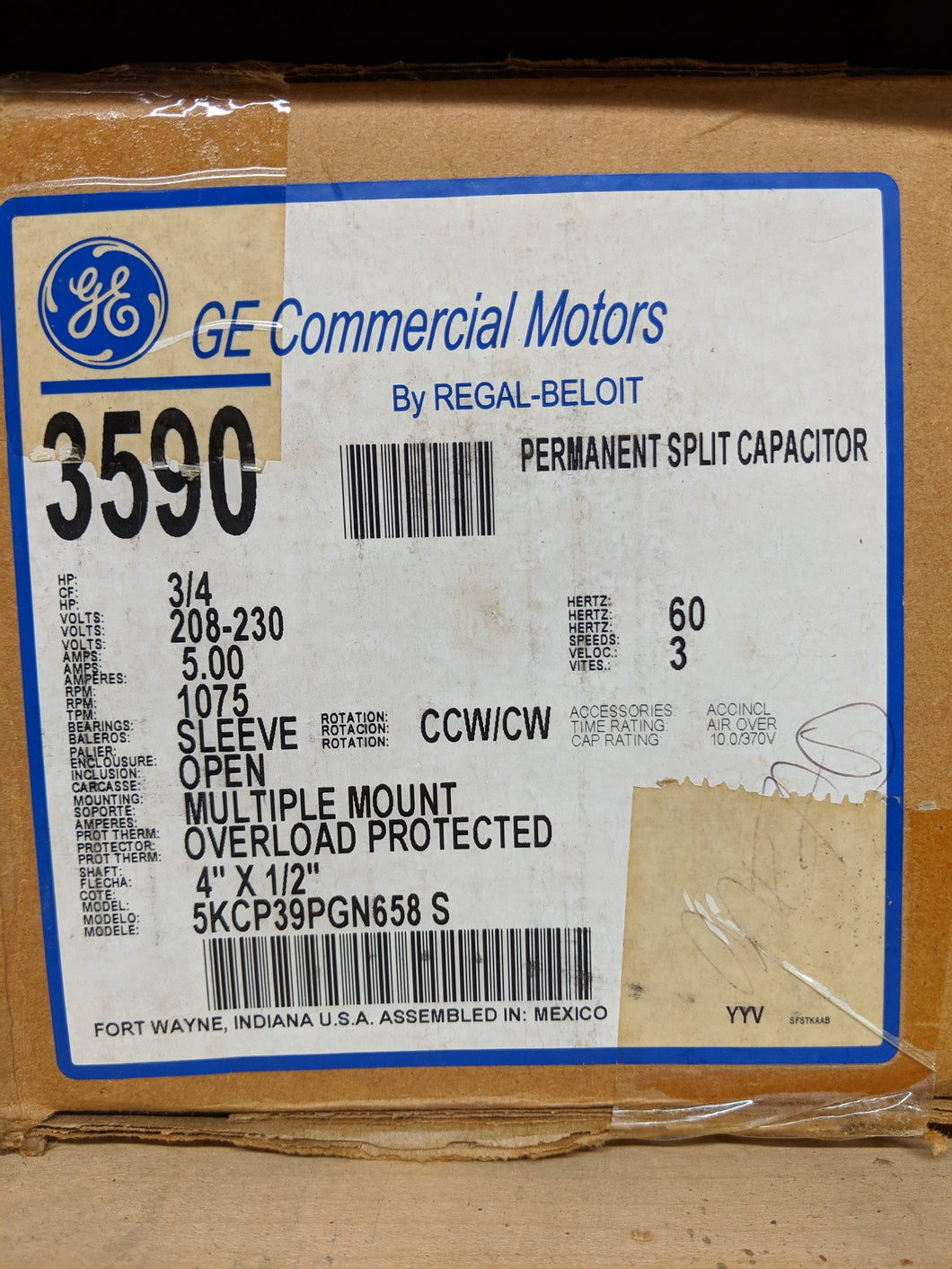 GE 3590, 3/4 HP, 208-230 Volts, 5KCP39PGN658S
