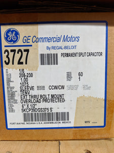 GE 3727, 1/6 HP, 208-230 Volts, 5KCP39DGS375S