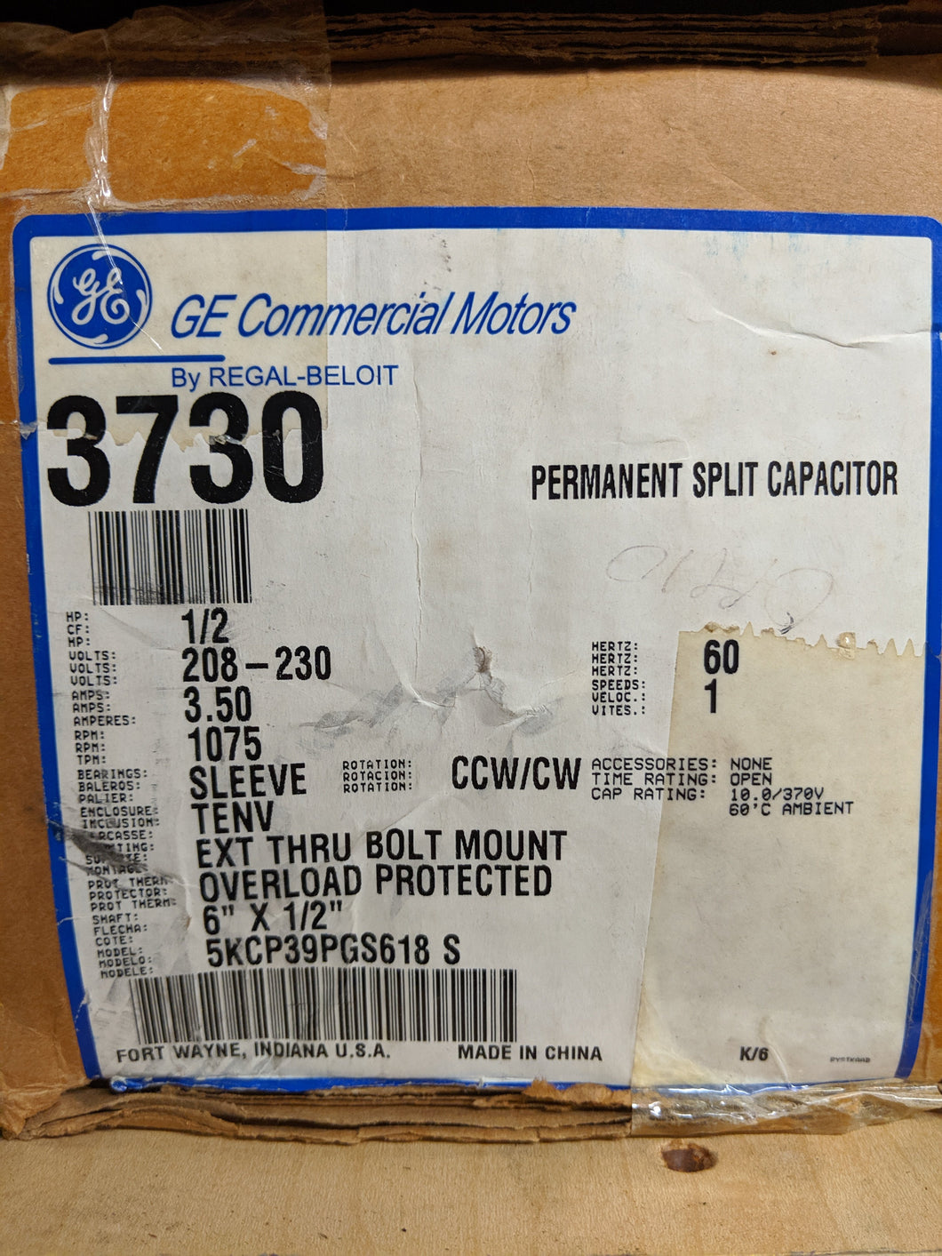 GE 3730, 1/2 HP, 208-230 Volts, 5KCP39PGS618S