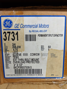 GE 3731, 3/4 HP, 208-230 Volts, 5KCP39SGT039S