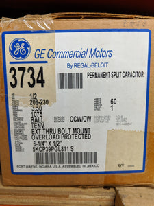 GE 3734, 1/2 HP, 208-230 Volts, 5KCP39PGL811S