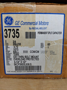 GE 3735, 3/4 HP, 208-230 Volts, 5KCP39SGL938S
