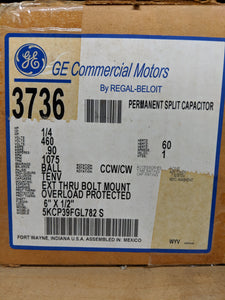 GE 3736, 1/4 HP, 460 Volts, 5KCP39FGL782S
