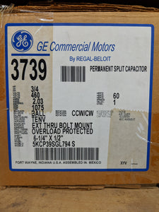GE 3739, 3/4 HP, 460 Volts, 5KCP39SGL794S