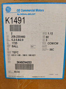 GE K1491, 2 HP, 208-230/460 Volts, 5K49ZN4253