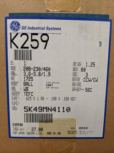GE K259, 1 HP, 208-230/460 Volts, 5K49MN4110
