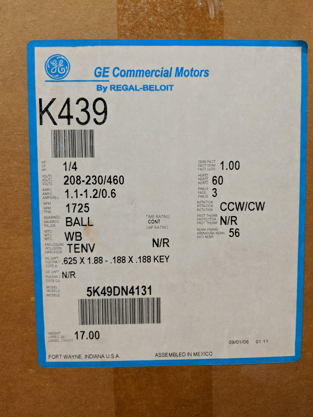 GE K439, 1/4 HP, 208-230/460 Volts, 5K49DN4131