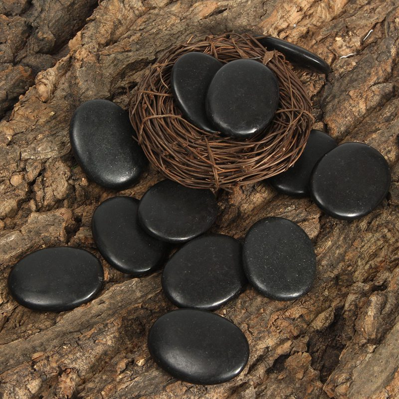 Multifunction 12pcs Natural Energy Massage Stone Hot SPA Rocks Basalt Stone Therapy Pain Relief Health Stone Home Decor 3*4cm