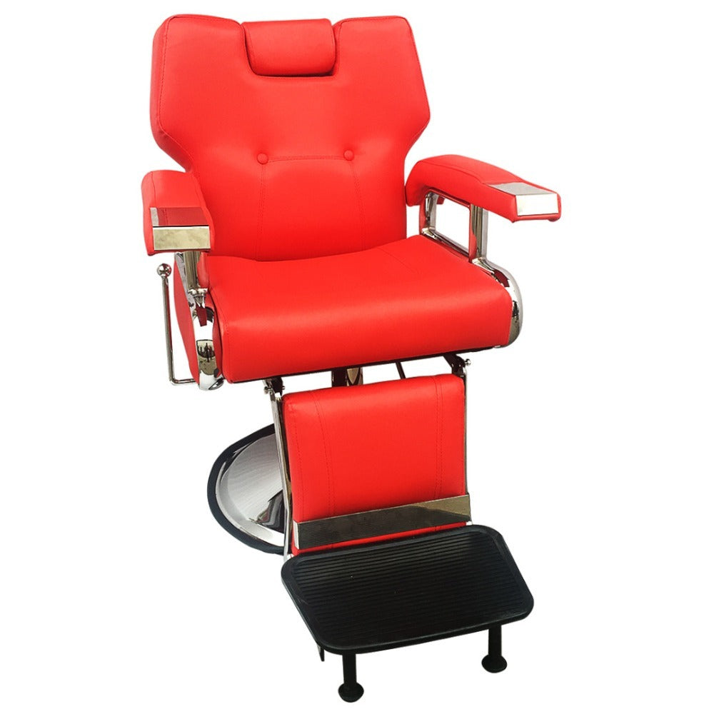 Cliniva Adjustable Reclining Hydraulic Barber Chair Shampoo Spa Beauty Salon Chair Equipment Set Red