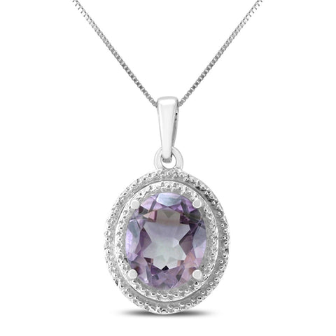 Oval Amethyst Pendant in .925 Sterling Silver