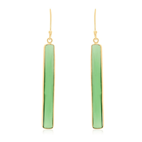 17 Carat Emerald Quartz Bar Earrings In 14 Karat Yellow Gold Plater .925 Sterling Silver