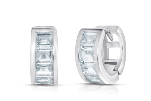 Crystal Emerald Bezel Mini Huggie Earrings Collection in Sterling Silver