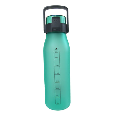 Non-Slip Rubber-Coated Push-Button Water Bottle with Carry Handle 48 oz.