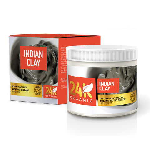 24k Organic Indian Healing Clay Deep Pore Facial Skin Cleansing Mask