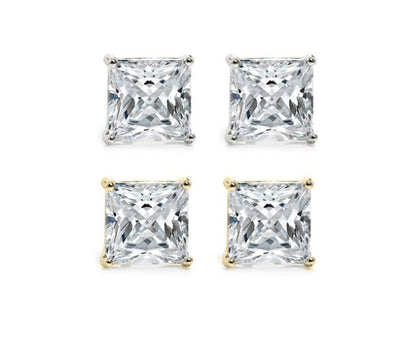 6 Carat Brilliant Princess Cut Stud Earrings