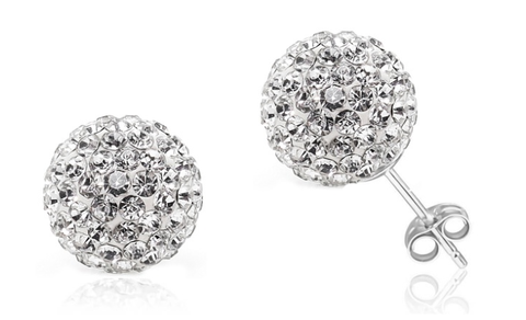 Sterling Silver Crystal Ball Studs