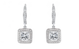 7.0 Carat Princess Halo Drop Earrings