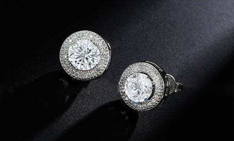 Swarovski Elements 4.50 Carat Round Halo Stud Earrings