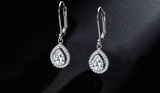 10.0 Carat Pear Halo Drop Earrings