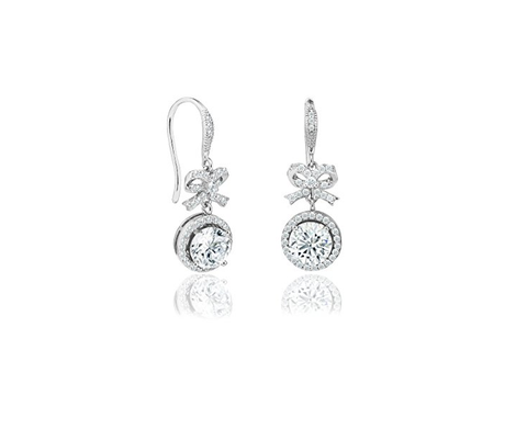 Cubic Zirconia Bow & Circle Halo Drop Hook Earrings