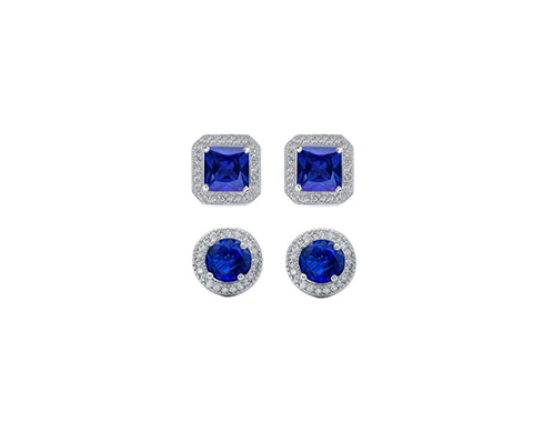 2 Pair Set Blue & Clear Cubic Zirconia Halo Stud Earrings