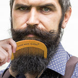 Wooden Fine Toothed Mustache and Beard Grooming Comb