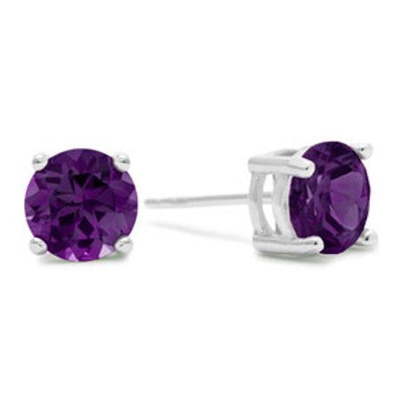 2ct Round Purple Amethyst Earrings In Sterling Silver