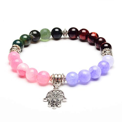 ELYA Hamsa Charm Jade, Agate and Red Tiger's Eye Stone Bracelet