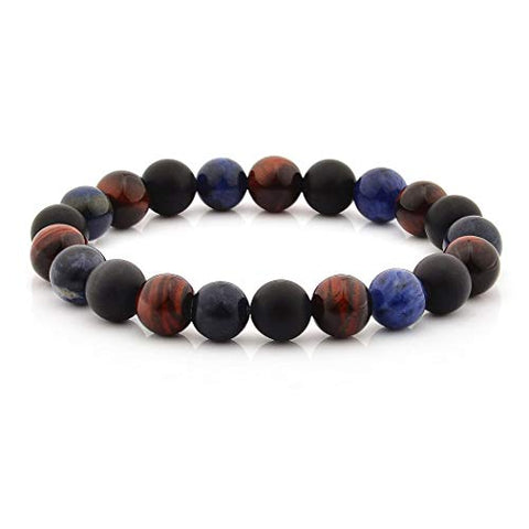 Tiger's Eye, Sodalite, and Matte Onyx Stone Bracelet (10mm Wide)