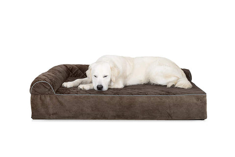 Quilted Faux Fur & Velvet Goliath Deluxe L-Chaise Pet Bed