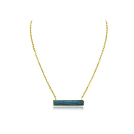 10 Carat Turquoise Bar Necklace In Yellow Gold Overlay
