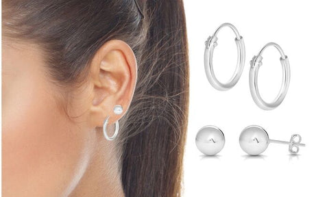 Endless Hoop and Ball Stud Earrings Set (2 Pack)