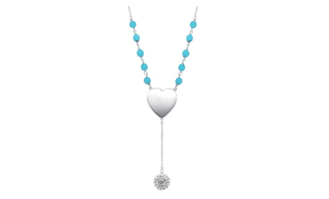 "Beaded Turquoise And Silver Heart Disc ""Y"" Necklace"