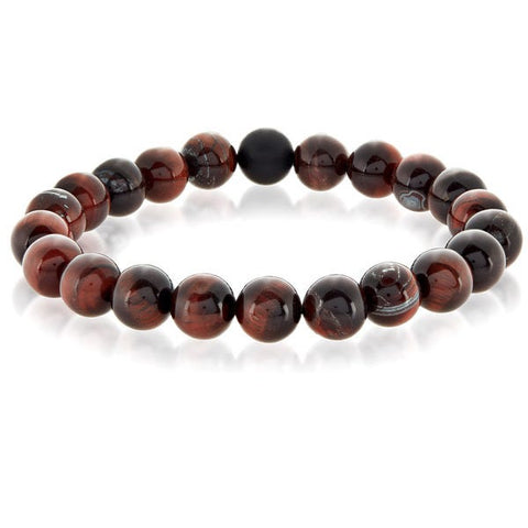 Red Tiger's Eye and Matte Onyx Stone Beaded Stretch Bracelet (10mm)