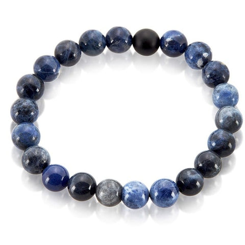 Sodalite and Matte Onyx Stone Beaded Stretch Bracelet (10mm)