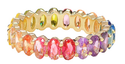 Crystal Rainbow Oval Cut Eternity Band