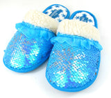Girl's Frozen 2 Snowflake Reversible Sequins Plush Slippers