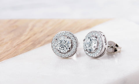 Halo Stud Earrings made With Swarovski Elements