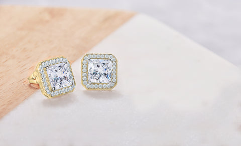 Square Halo Stud Earrings Made With Swarovski Elements