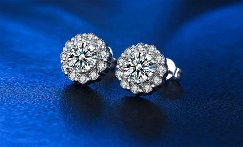 6.0 Carat Flower Stud Earrings